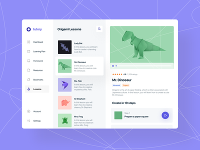 🦖 Origami lessons elearning dashboard edtech saas courses rating bat fish frog elephant dinosaur origami player video lesson knowledge platform learning design artwork