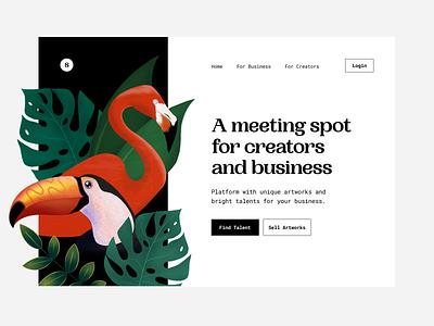 🎨 A platform where business and creators meet vibe tropics monstera exotic marketplace platform procreate toucan flamingo design artwork illustration ill web ui