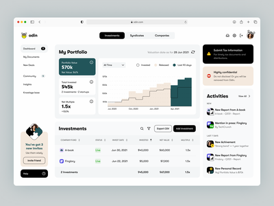 📈 Investments Portfolio Dashboard invite friends referral program odin viking startup value multiple dashboard money investor investments portfolio design interface web