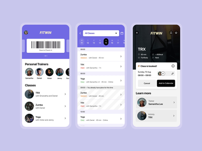 💪 Fitness Membership app sport ux calendar swipe motion animation coach class trainer schedule booking book membership gym fitness android ios app ui