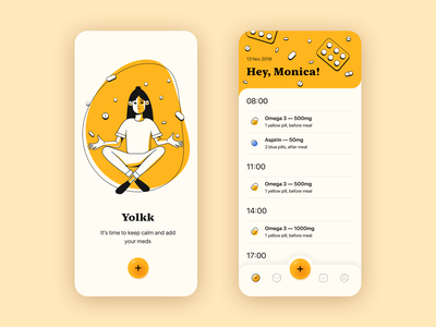 Yolkk — smart Pill Reminder drugs onboarding planner illustration clean apple uiux ui smart suggestions pills pill reminder mobile interface mobile app medtech medicine app design medicine interface healthcare appointment
