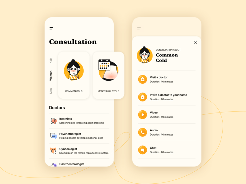 🧡 Telemedicine app appointment psychotherapy chat audio video medicine healthcare illness girl design consultation doctor cycle flu cold symptoms illustration app medtech telemedicine