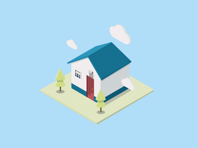 Bluehouse house.3d illustration