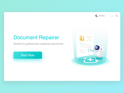 Document Repairer template robot page design product login computer ui illustration