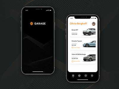 Garage App – Launch & Home dark ui orange rounded minimal app mobile volvo porsche rivian automobile automotive car garage