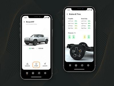 Garage App – Vehicle Details dark ui uiux ui app design electric car car futurism electric darkmode minimal rivian vehicle app
