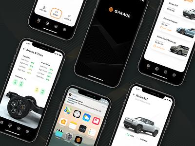 Garage App – Screens identity dark ui dark futuristic future volvo rivian porsche truck minimal app mobile app mobile ui ui design