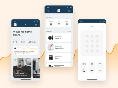 ✨ Smart Home - Screens & Elements utilities remote digital assistant smarthome futuristic ui future minimal mobile
