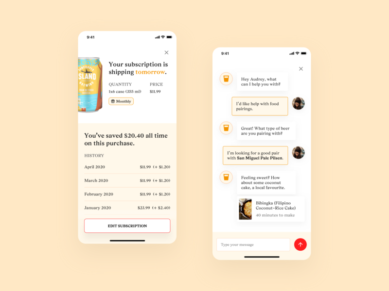 Beer App – Subscription & Chat rewards serif ecommerce shopping grocery subscription chatbot chat minimal ui beer