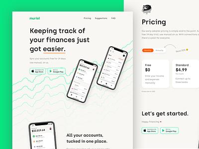 Meet Muriel 🤑 idenity tracking finance banking website startup landing page ui minimal branding app banking app fintech banking