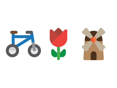 Dutch Icons wind mill mill flower tulip bicycle bike icons icon dutch