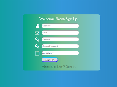 Sing up page css gradient css html