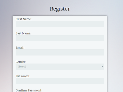 Registration responsive form css html