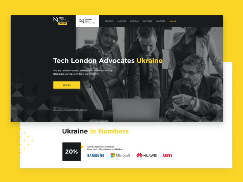 TLA Ukraine | Corporate website tech business yellow black corporate landing marketing ux ui design