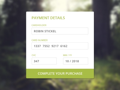 DailyUI Challenge #002: Credit Card Checkout ui log out purchase payment credit card dailyui