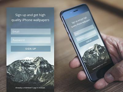 DailyUI Challenge #001: Sign Up mobile app design webdesign mockup login app ui interface iphone sign up