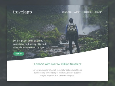 DailyUI Challenge #003: Landing Page nature gren travel above the fold landing page ux webdesign website interface dailyui