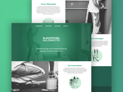 Painting Company Webdesign onepage minimal clean illustration green white black website web ui webdesign painting