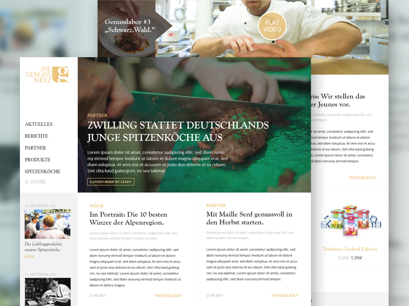 JRE Magazine and Blog Interface Design news food blog network magazine cooking interface webdesign ux ui