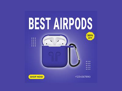 social media ad design for Airpods ux ui vector logotypes logo logodesign illustration graphic design design branding