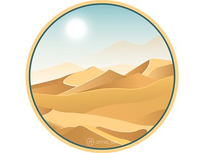 Sahara Desert circle art inspiration nature dunes heat sun sand desert sahara africa vector graphics illustration