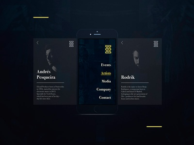 Hustle - Artists art direction bodoni music electronic website web interface ux ui
