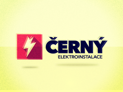 Cerny elektroinstalace logo brand black electro flash red retro vintage