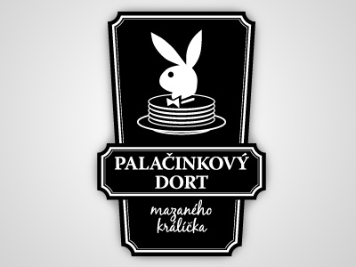 Pancake bunny cake lubricated illustration logo food playboy nice pancake bunny cake retro