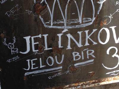 Jelínkovo jelou bír (Jelínkovou yellow beer) chalk hand made draw jelínkovo yellow beer