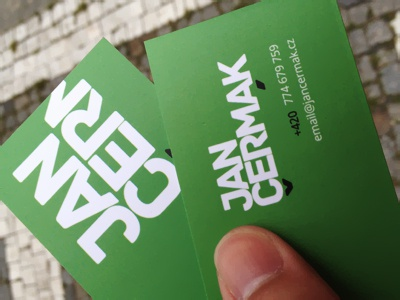my today happy time — printed business card happy green business card jan cermak prague cermak