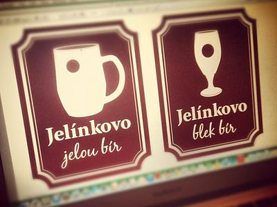 Jelínkovo jelou bír and blek bír beer brand logo product design design u jelÍnkŮ jann cermak