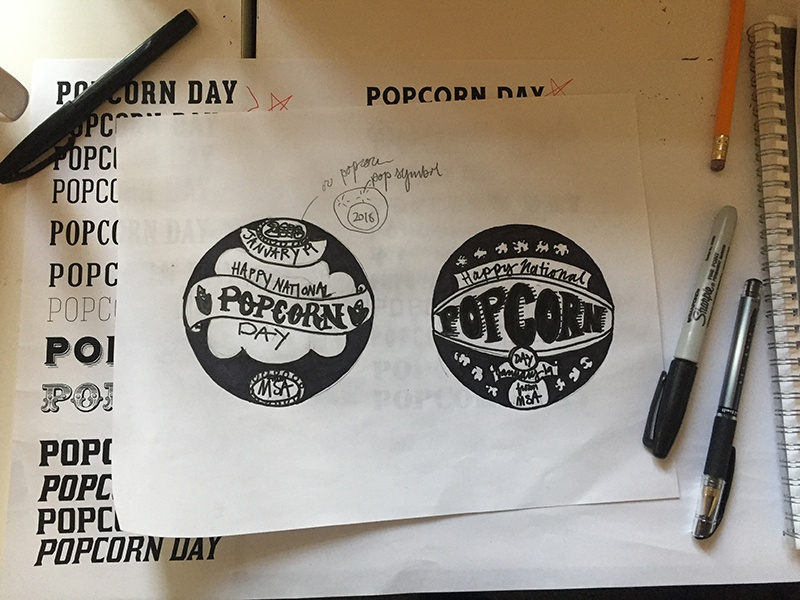 Popcorn Day Sticker Sketch type setting popcorn print design typography hand lettering sketch