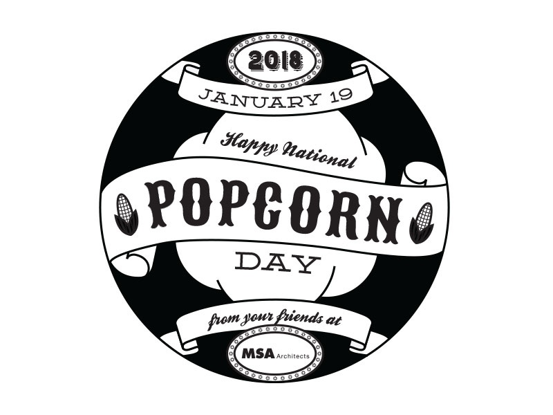 Popcorn Day Sticker BW Digital Drawing typography sticker design sticker print design print drawing illustration