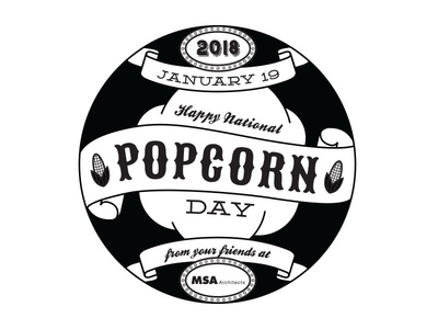 Popcorn Day Sticker BW Digital Drawing