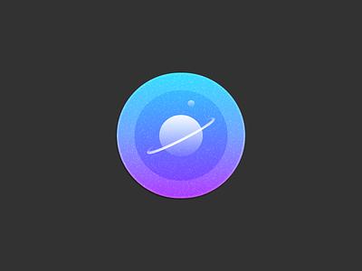 Saturn Badge solar system giant gas badge blue logo planet sketchapp icon saturn