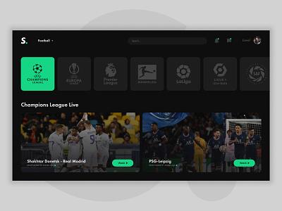 Daily UI 025 - TV App streaming football 025 daily ui 025 tv app app tv ux ui interface design design dailyui app