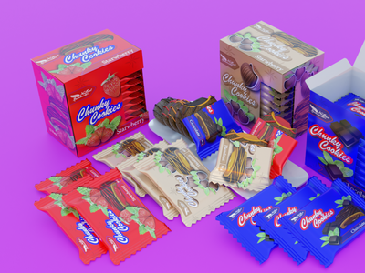 Chunky Cookies Packaging Design design 3d illustration graphic design packaging branding