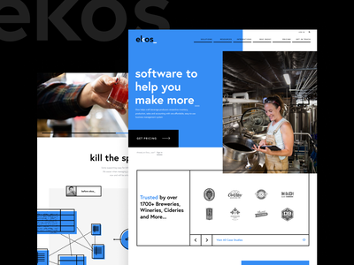 Ekos_ Maker Software - Interface Design charlotte startup sass software breweries brewery thick lines bold europa blue website interface