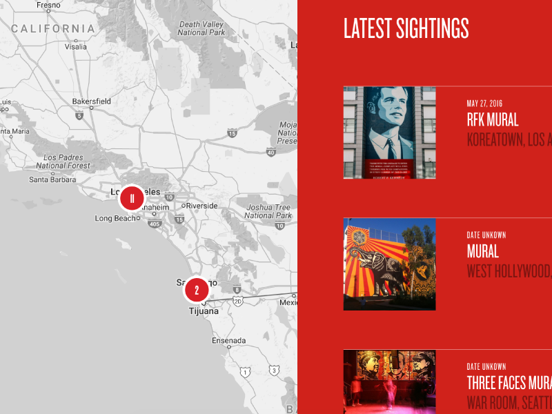 Obey Giant Sightings Map sightings map black red interface shepard fairey obey giant obey
