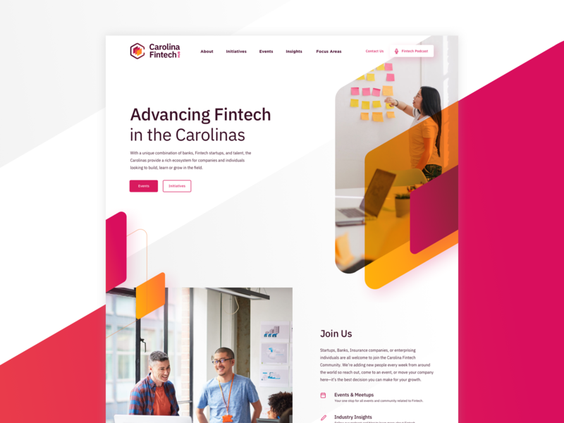 Carolina Fintech Hub Homepage modern clean app orange pink ui  ux website angles interface fintech