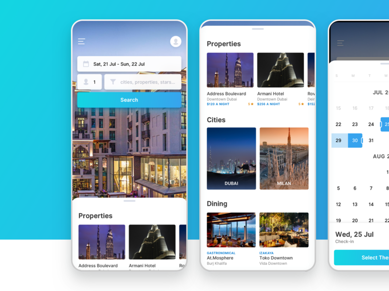 Emaar Hospitality Booking ui ux properties dubai hotel booking android iphone mobile emaar