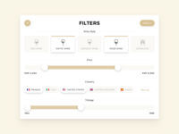 Wine Menu Filters