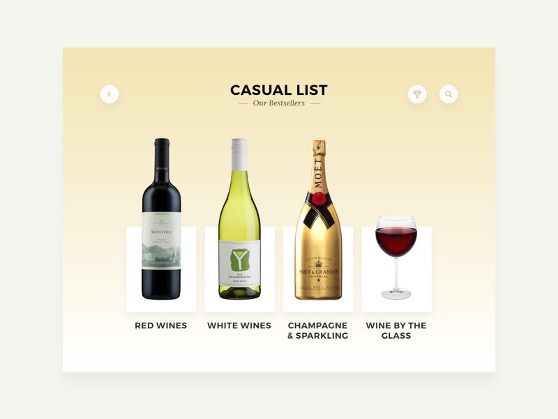 Wine Menu Casual List restaurant bottle champagne ui ipad hotel wine