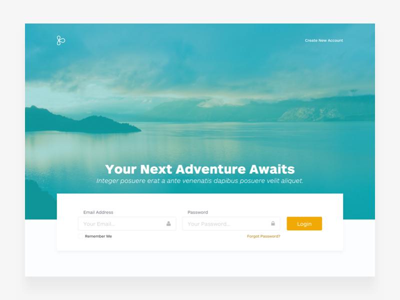 Travel App's Login Page web login landing travel