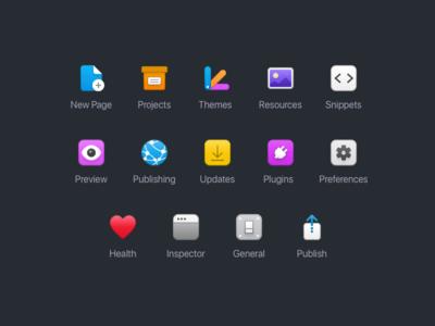 Unused Toolbar Icons for RapidWeaver 8 mac app macosx macos toolbar icons icon