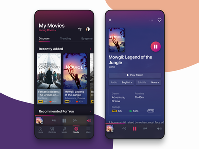 Movie Catalog for Smart Home App ratings movies ui smarthome iphone ios