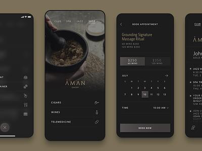 Aman Club Member App mobile design visual design ui ux app ios iphone