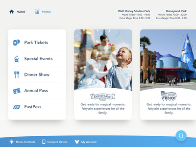 Disney App Menu cards menu animation ipad ux marvel pixar ui