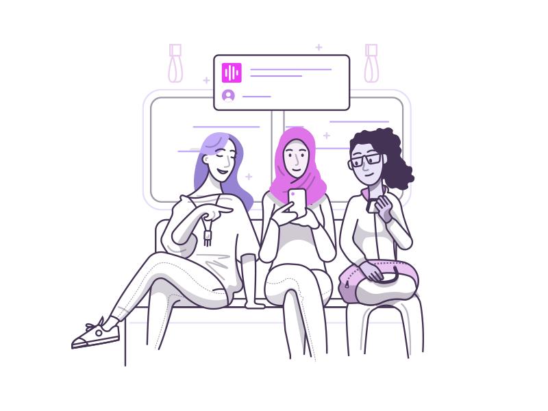 "Onboarding - ""Discover"" onboarding social. podcast app ios design illustration"