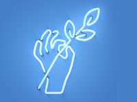 Giving hand Neon